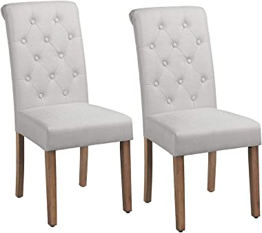Yaheetech Solid Wood Dining Chairs Button Tufted Parsons Diner Chair Upholstered Fabric Dining Room Chairs Kitchen Chairs Set