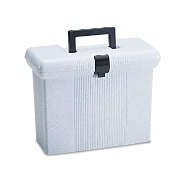 Pendaflex 41737 Portable File Boxes, Letter, Plastic, 14-7/8 x 6-1/2 x 11-7/8, Granite