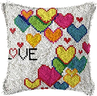 X-xyA DIY Latch Hook Kits for Adult Pillowcase Christmas with Color Printing Pattern for Beginners 17 X 17 Inch,A,17 X 17 ...