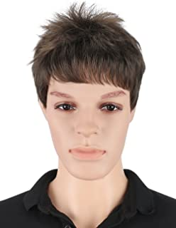 Kalyss Men's Short Straight Brown Wig with Hair Bangs Heat Resistant Synthetic Hair Wig