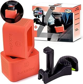 Car Seat Belt Buckle Holder (2-Pack) for Kids Toddlers Seniors Elderly – for Instant Seat Belt Buckle Up + Car Headrest Hook as Gift