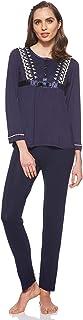 JOANNA Women's Embroidered Pattern Sleepwear Set, X-Large, Dark Blue