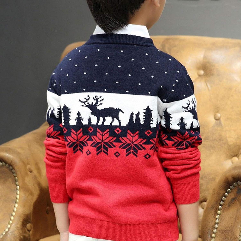 Chen Kinder M/ädchen Jungen Weihnachtspullover Gestrickt Strickpullover Langarm Sweater Pullis