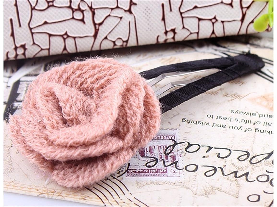 スタンド愛されし者言及するOsize 美しいスタイル ガールズローズフラワーワンワードヘアピンファスナーヘアピンヘアアクセサリー(ピンク)