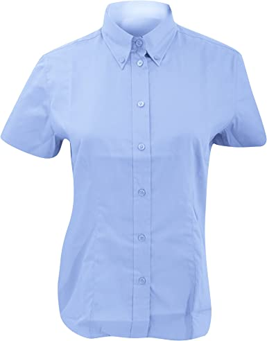 Kustom Kit- Camisa Oxford de manga corta de empresa para mujer