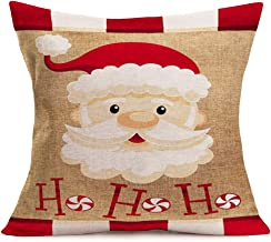 Fukeen Merry Christmas SantaClaus Throw Pillow Covers Vintage White Red Buffalo Check Plaid with Quote Ho Ho Ho Decorative Pillow Cases Xmas Candy Gifts Home Decor Pillowcase Cotton Linen 18x18 Inch