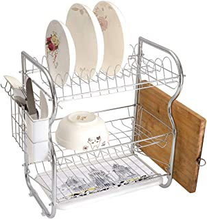 Stainless Steel 3-Tier Dish Drainer Rack Watercolor Kitchen Drying Drip Tray Cutlery Holder Skyscrapers Empire State Building Old Wonders of American Architecture Sketch Decorative,Black White,Storage