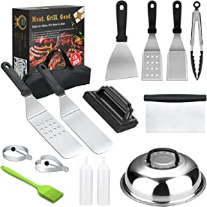 HTECHY Griddle Accessories, 15PCS Flat Top Grilling Accessories Kit with Spatula, Basting Cover, Scraper, Bottle, Tongs, Egg Rings & Carry Bag, BBQ Accessories Grill for Men Women Outdoor Camping