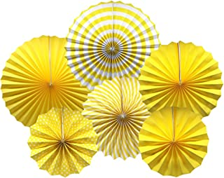 Party Hanging Paper Fans Set, Yellow Round Pattern Paper Garlands Decoration for Birthday Wedding Graduation Events Accessories, Set of 6