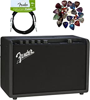 Fender Mustang GT 40 Guitar Amplifier Bundle with Instrument Cable, Pick Sampler, and Austin Bazaar Polishing Cloth