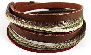 Genuine Leather Bracelet for Women & Men,Unisex Multilayer Leather Adjustable Bracelet Cuff Wrap Multicolor Rope Wristband