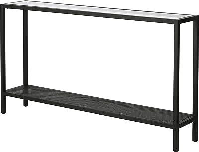 "Henn&Hart 55"" 2-Shelf, Entryway Glass/Metal Console Table, Black"