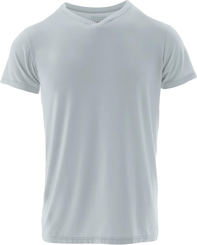 KICKEE Men's Solid OFFicial Short Sleeve Soft Denver Mall Tee Stretchy Shirt V-Neck