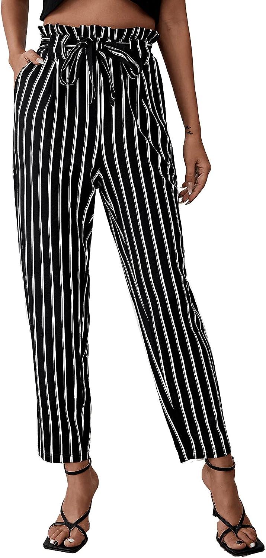 MakeMeChic Women's Paperbag Waist Self Belted High Waist Striped Tapered Pants