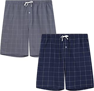 Vulcanodon Mens Cotton Pajama Pants, Lightweight Sleep Pants with Pockets Soft Lounge Pajama Pants for Men Plaid Pj Bottoms