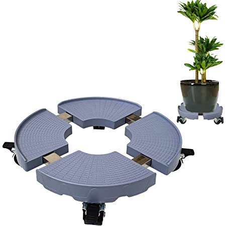 Myuilor 9 Gray Plant Caddy,1 Pack of Plant Pallet Caddy with Wheels Indoor Rolling Planter Dolly on Wheels Round Flower Pot Mover