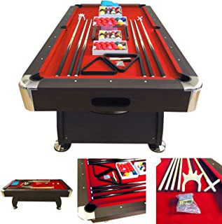 SIMBASHOPPING USA 8' Feet Billiard Pool Table with Automatic Ball Return System on The Short Side Snooker Full Set Accessories Game mod. Vintage Red 8