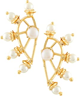 Archi Collection White Fancy cuffs Earrings