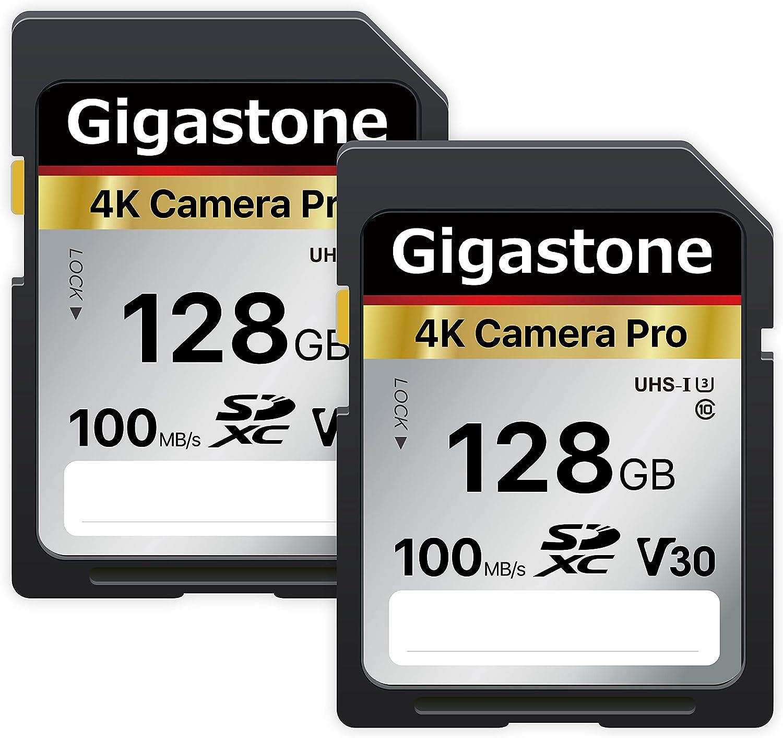 Gigastone 128GB 2-Pack SD Card V30 SDXC Memory Card High Speed 4K Ultra HD UHD Video Compatible with Canon Nikon Sony Pentax Kodak Olympus Panasonic Digital Camera