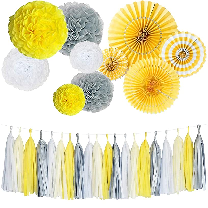 Monkey Home Yellow Tissue Paper Tassel Tissue Paper Pom Poms Flowers Paper Fans Kit for Party Decorations Wedding,Festival,Party Decoration (Yellow)