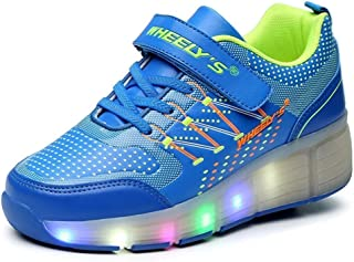 Ashely Store 2016 Girls Boys Kids LED Light Glow Shoes with Wheels Roller Skate Sneakers