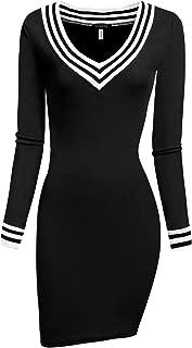 Justrix Womens Pencil Sweater Dresses Long Sleeve v Neck Basic Knit Bodycon Mini Dress