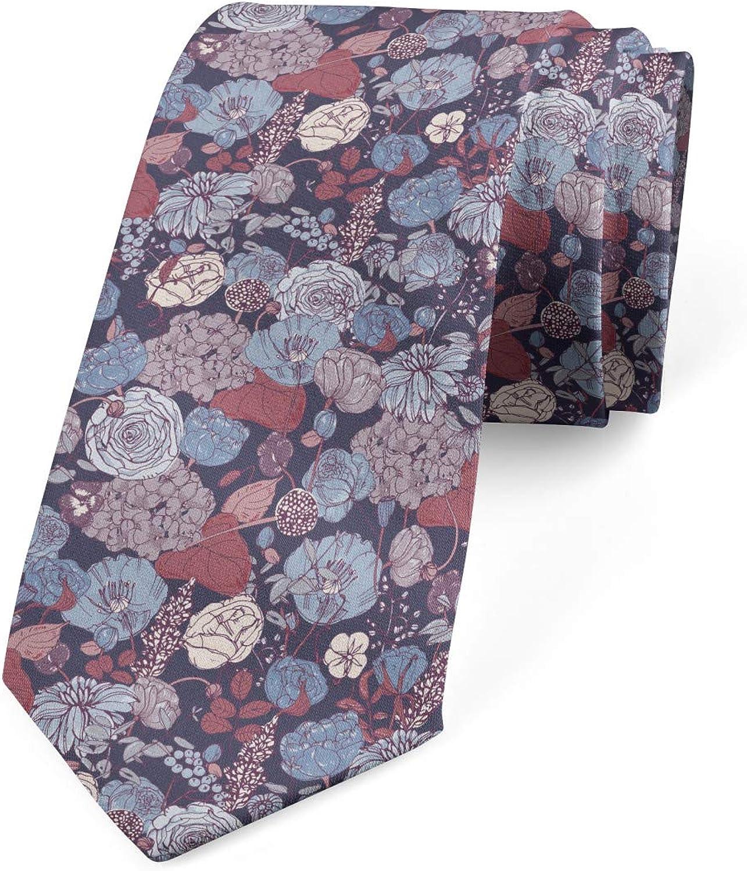 Ambesonne Men's Tie, Romantic Flowers Garden, Necktie, 3.7