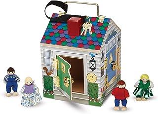 Melissa & Doug 12505 trähus med dörrklockor och spelfigurer (5 delar)