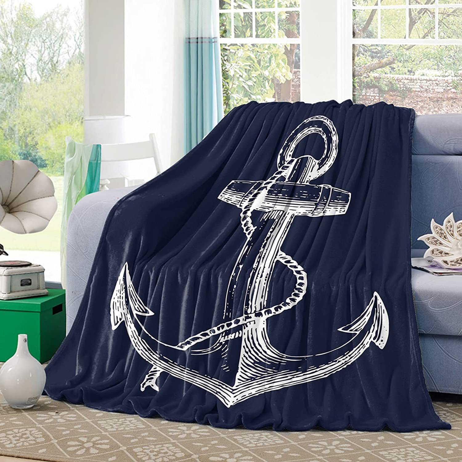Ruian Store New item Flannel Fleece Throw Rop Nautical Blanket Limited time sale Anchor and