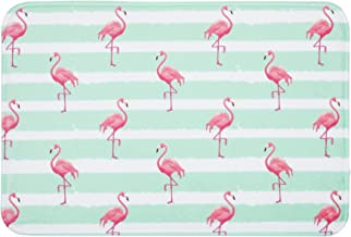 LIVILAN Pink Flamingo Bath Mat, Green White Stripe Soft Memory Foam Non Slip Bath Rug, Thick Shaggy Bathroom Floor Carpet,...
