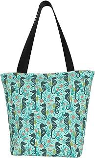 Einkaufstaschen, Seepferdchen in Korallenriff, türkis, Segeltuch, Einkaufstasche, wiederverwendbar, faltbar, Reisetasche, groß und langlebig, robuste Einkaufstaschen