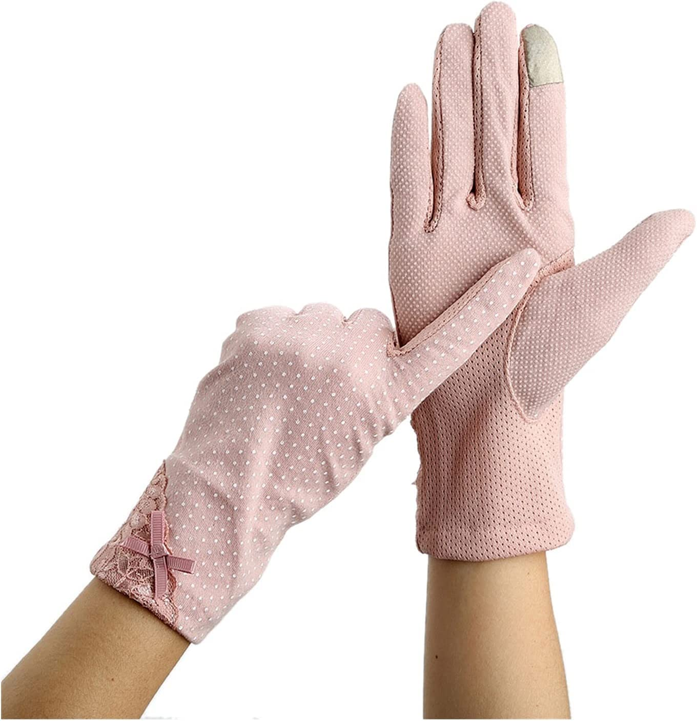 Lace Gloves Summer Lace Sunscreen Gloves Driving Non-slip Thin Women Touch Screen Windproof Mittens Glove Dot Lady Girl Wrist Practical (Color : Dark pink, Gloves Size : One Size)