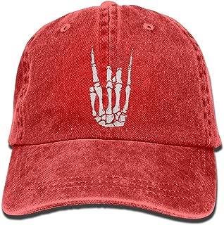 Rock N Roll Skeleton Hand Unisex Flat Bill Hip Hop Cap Baseball Hat Head-Wear Cotton Trucker Hats Natural