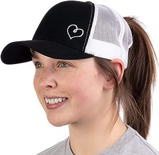 Heart Stitch | Ponytail Trucker Hat, Cute Boating Lake Beach Pool Pony Tail Cap