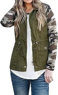Women's Military Sleeveless Jacket Lightweight Drawstring Vest Coats with Pockets