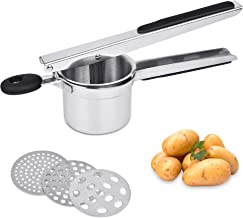 Supkiir Potato Ricer, Stainless Steel Manual Potato Masher with 3 Interchangeable Discs for Smooth Creamy Mashed Potatoes,...