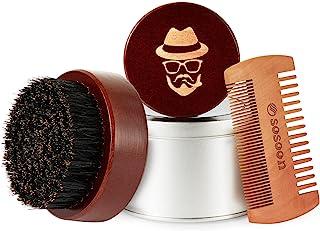 برس ریش ، برس برس ریش چوب گردو سیاه 100٪ گراز ، برای مردان ، موهای صورت شما را رام و نرم می کند