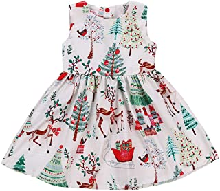 Baby Girls Christmas Dresses Clothes Floral Deer Sleeveless Outfits