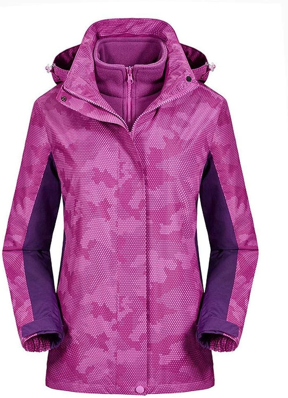 CHXZ Frau Triple-Jacken Tarnung Skianzüge Winter Outdoor Sports Mountaineering Warm Liner lila-XXL