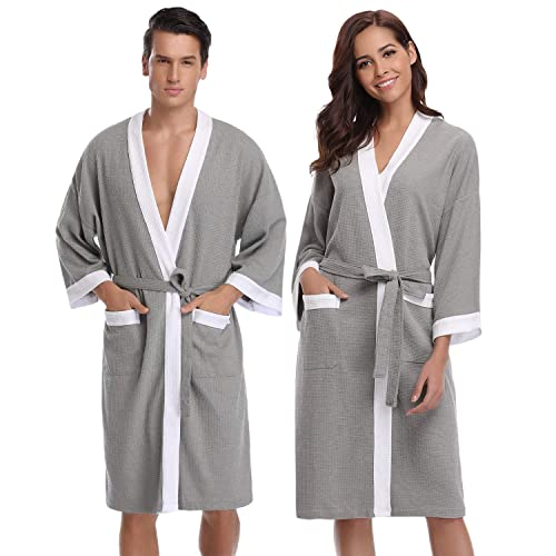 876e94db91 Aibrou Unisex Waffle Dressing Gown Cotton Lightweight Bath Robe for All  Seasons Spa Hotel Pool Sleepwear