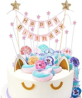 HANGNUO Tortendeko Geburtstag, Cake Topper, Tortendekoration Kuchendeko, Kuchengirlande Wimpelkette, Happy Birthday Tortenstecker, Star Cake Topper für Kindergeburtstag Party Mädchen Junge 11Stück