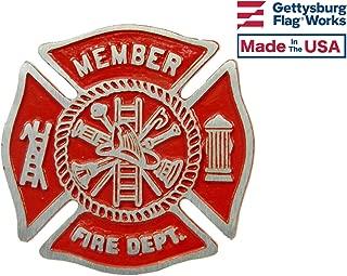 Aluminum Grave Marker Firefighter, Cemetery Memorial Flag Holder, Fireman Plaque, Made in USA