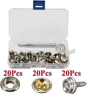 20 juegos de 15 mm 5/8 cierre de broche de metal de cuero rápido remache botón de costura con juego de punzón herramienta en caja de almacenamiento