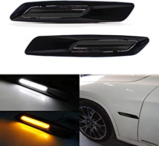 iJDMTOY Glossy Black Finish Amber/White Switchback Full LED Side Marker Light Kit For BMW 1 3 5 Series X1, w/BMW F10 Style, Replace OEM Sidemarker Lamps