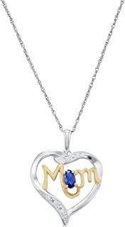 Mom's Love Simulated Birthstone Sterling Silver Pendant Necklace, 18 Inches
