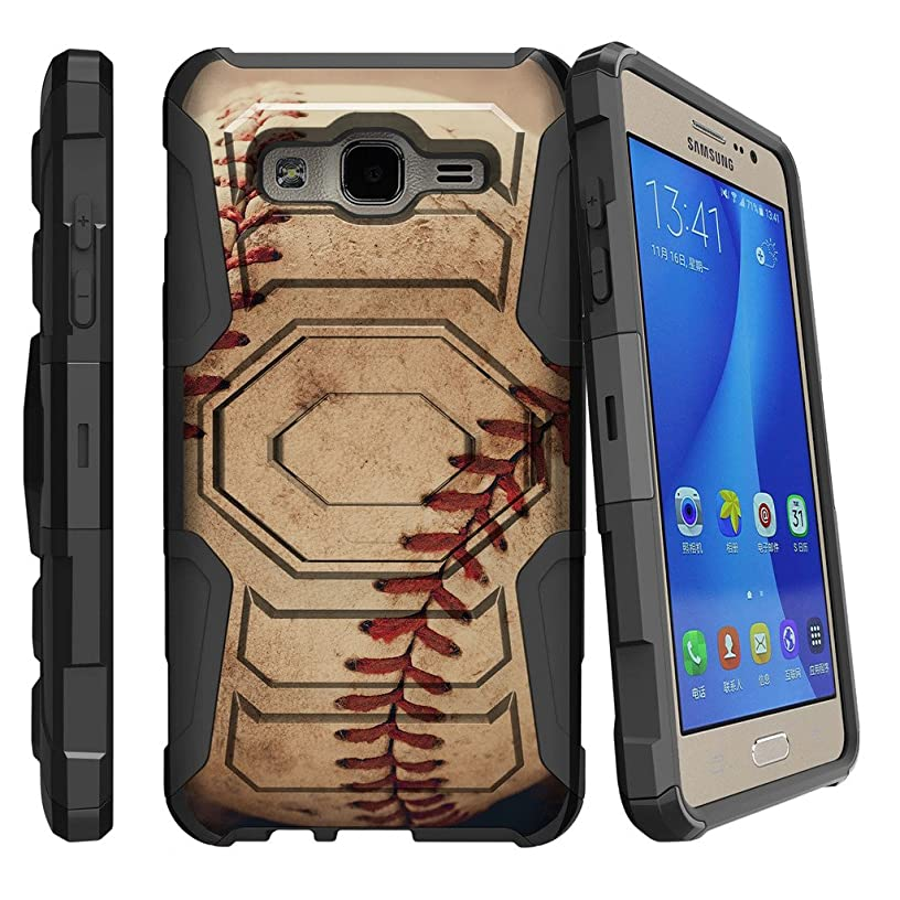 MINITURTLE Case Compatible w/ Samsung Galaxy On5 Case, On5 Heavy Duty Case, O5 [Armor Reloaded] Dual Layer Shell Case + Clip and Stand Design Case Close Up Baseball