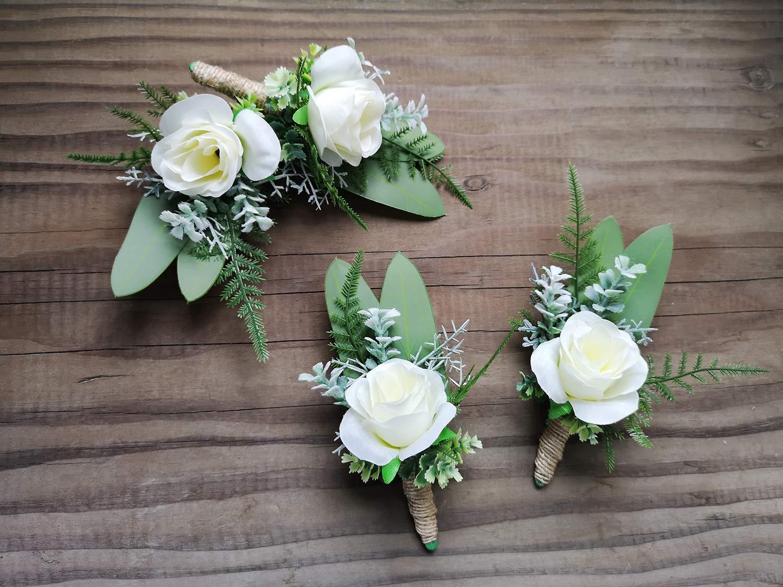 store Eucalyptus Ranking TOP13 Pine Leaves White Boutonniere 4Pcs Rose