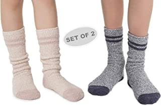 Barefoot Dreams CozyChic Youth Striped Socks, Boot Socks, Plush Socks, Loungewear, Warm Toes, Fuzzy Socks, Clothing for Boys and Girls-Pacific Blue-Faded Rose (Set of 2)