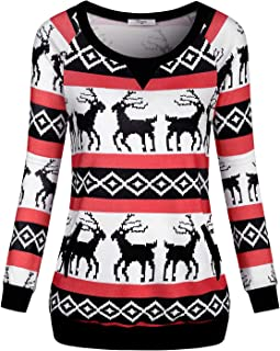 Women Round Neck Christmas Reindeer Sweatshirt Pullover with Pockets