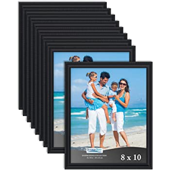 Icona Bay 8x10 Picture Frames (Black, 12 Pack), Beautifully Detailed Molding, Contemporary Picture Frame Set, Wall Mount or Table Top, Inspirations Collection